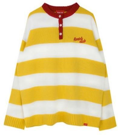 Heart Stripe Henley Neck Knit