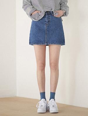 Daily A-line Denim Mini Skirt