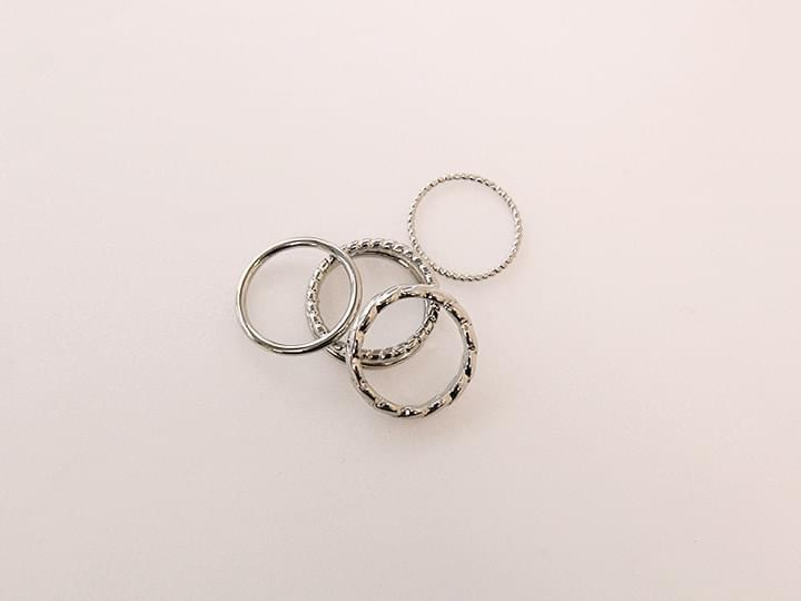 DAILY SILVER 4 RING SET
