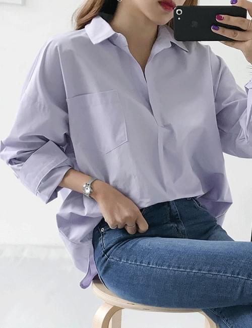 Lilac half-open shirt