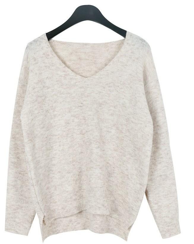 Basic pastel v-neck knit