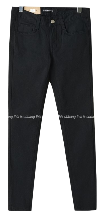 cotton skinny 9 pants black
