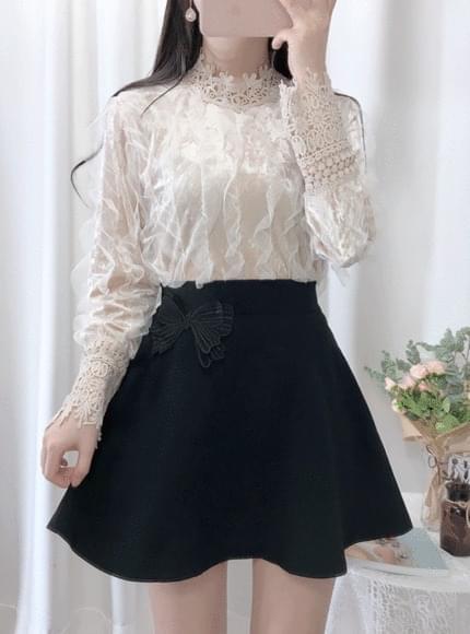 Flower lace velvet blouse