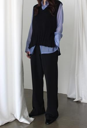 V-neck knit vest (4color)
