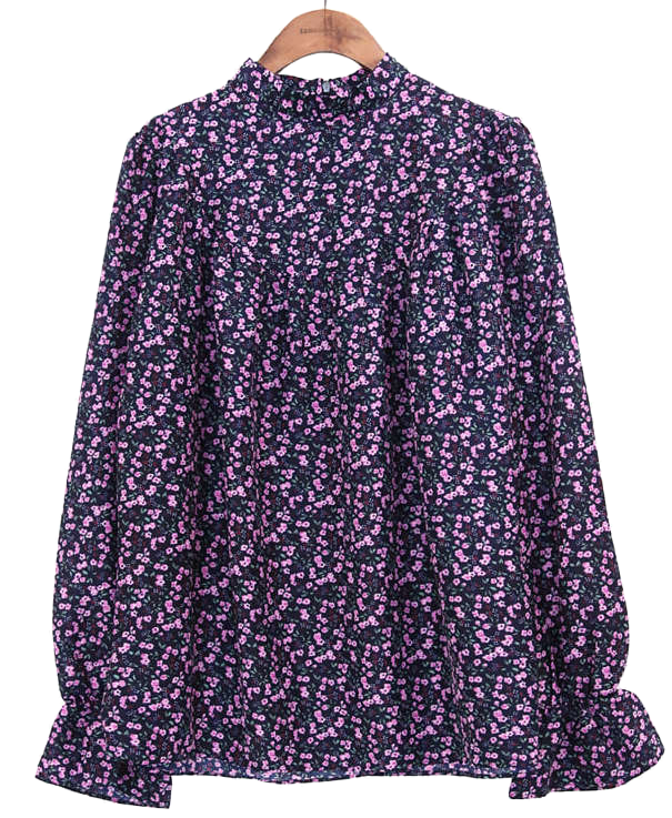 PANSY FLOWER SHIRRING BLOUSE