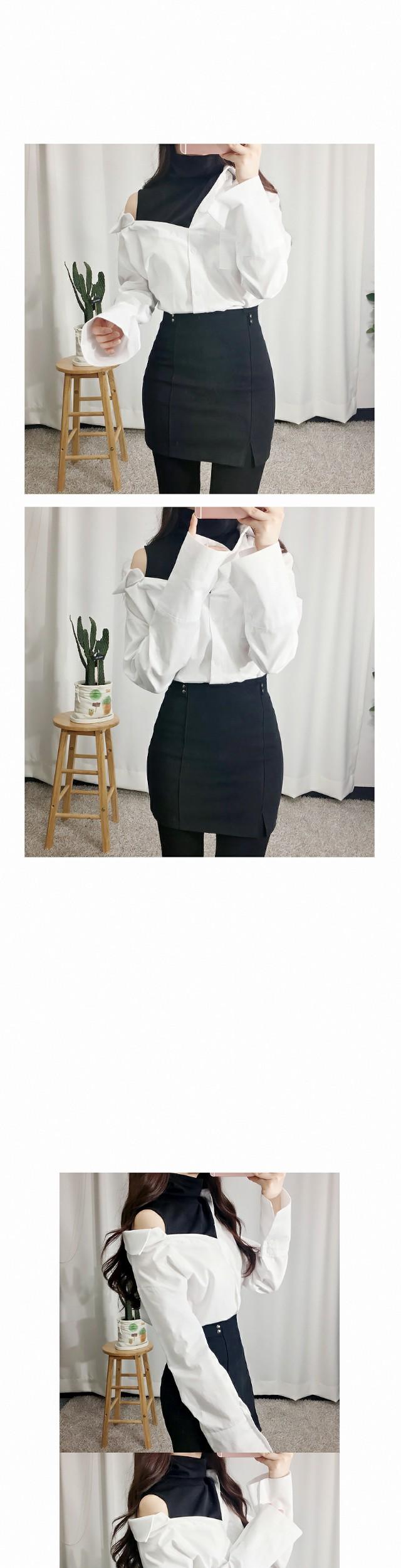 Layered turtleneck shirt