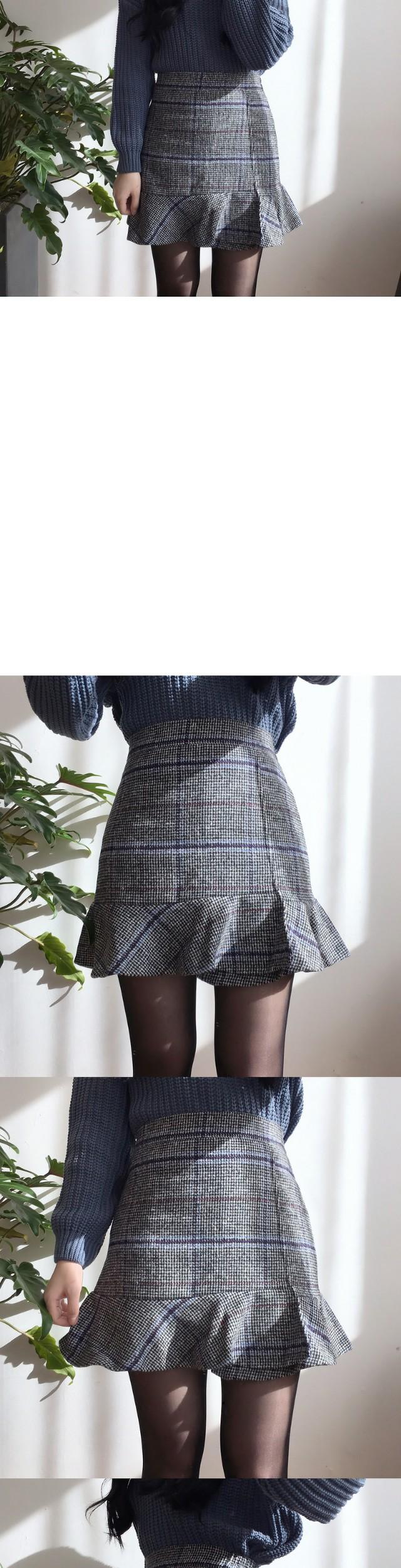 Shavet check ruffle skirt