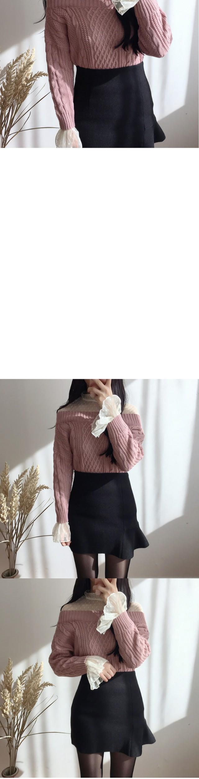 Race-off shoulder knit