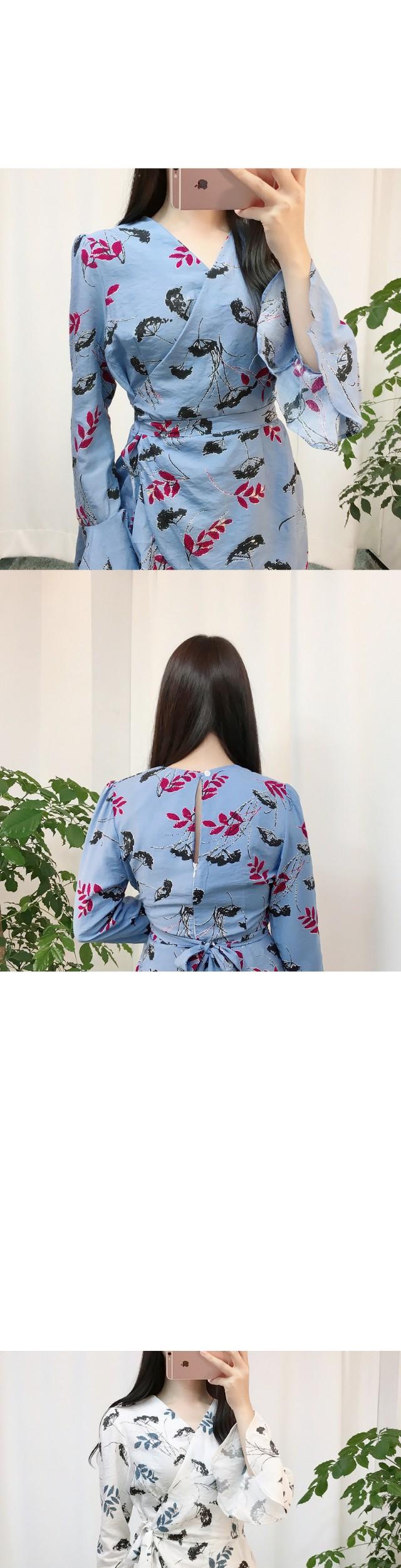 Leaf Flower Wrap Jump Suit ops