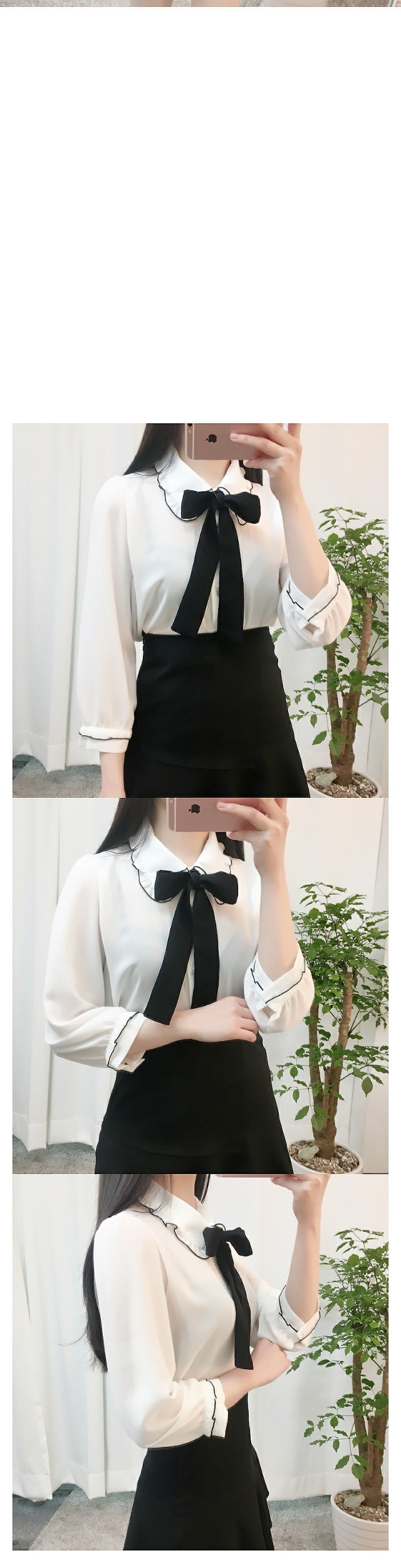 Frill tie blouse