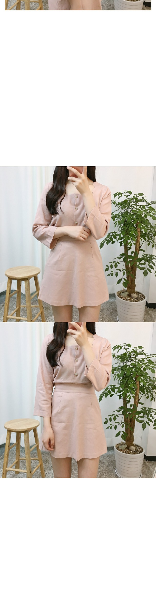 Wavy linen two piece ops