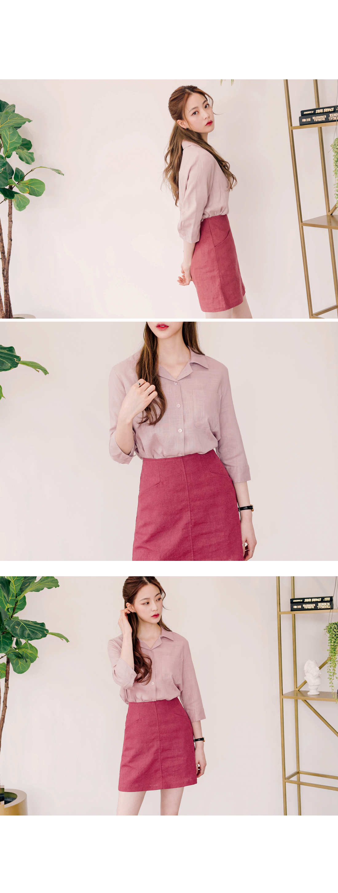 COLLAR LINEN SHORT SLEEVE BLOUSE