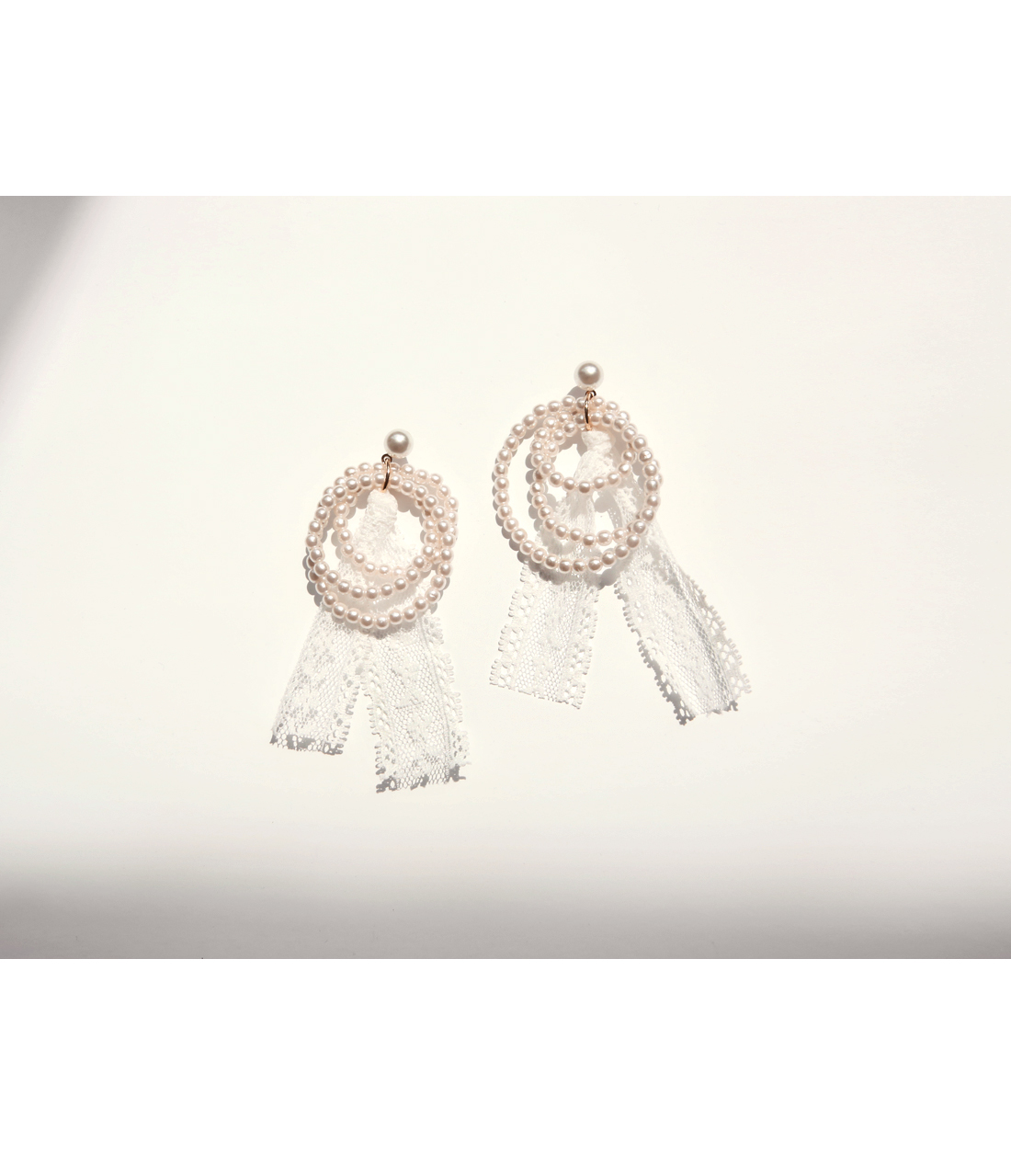 STRING ROUND PEARL LACE EARRING