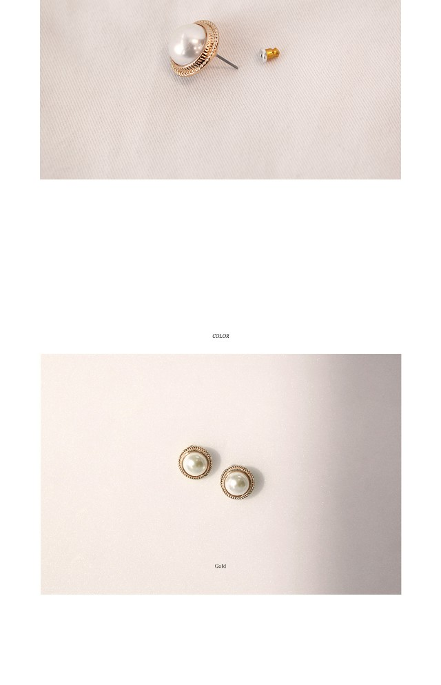 [JEWELRY] BOLD ROUND PEARL EARRING