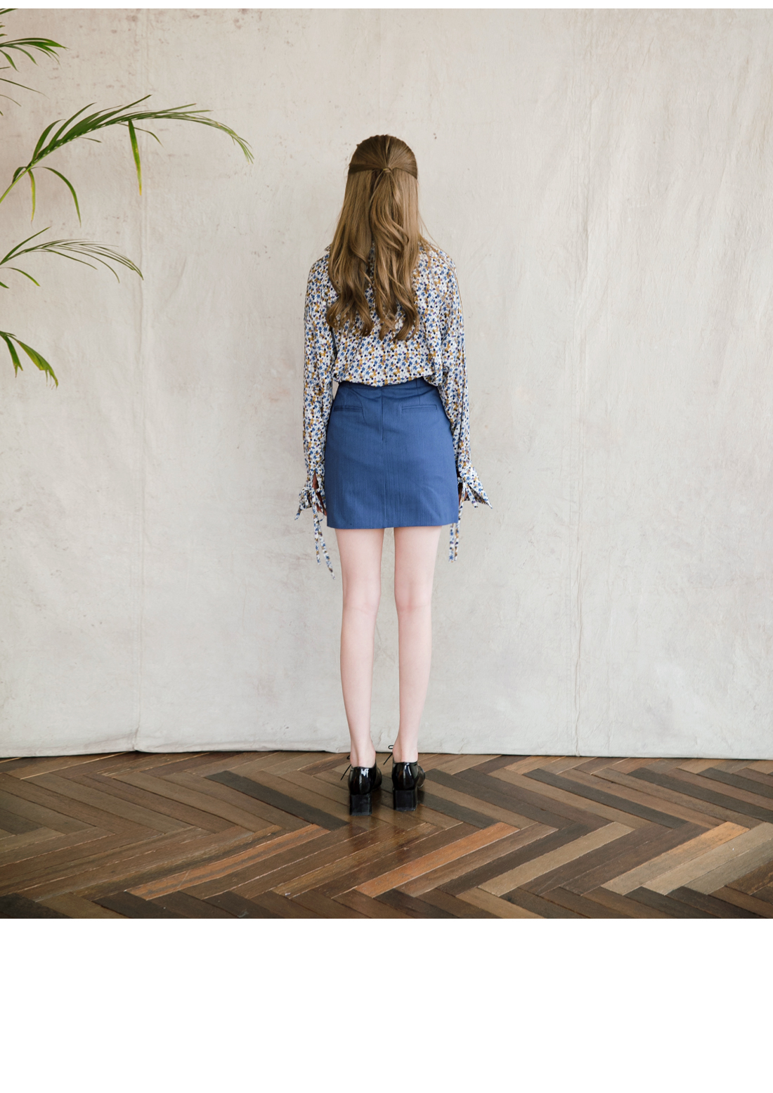 BELT A-LINE DENIM SKIRT