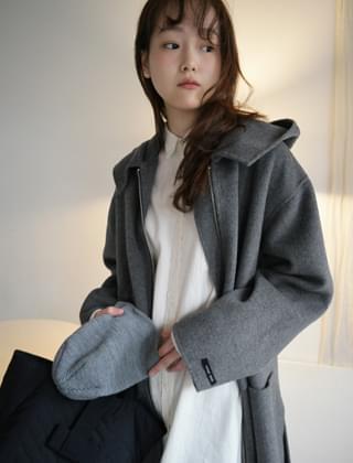 oversize hood handmade coat