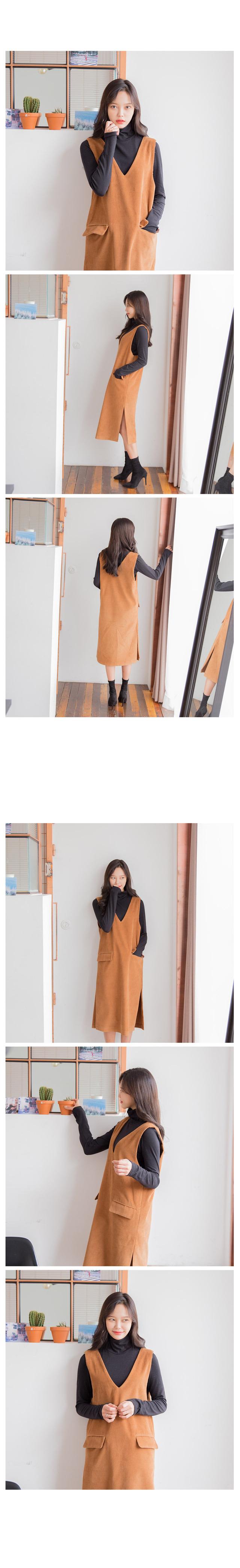 코듀로이 슬릿 원피스 (3color)