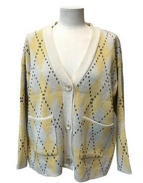 Two-tone Argyle cardigan
