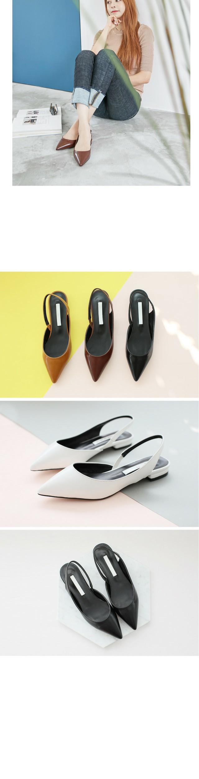 Peak Curb Sling Back Flat Shoes 1.5cm