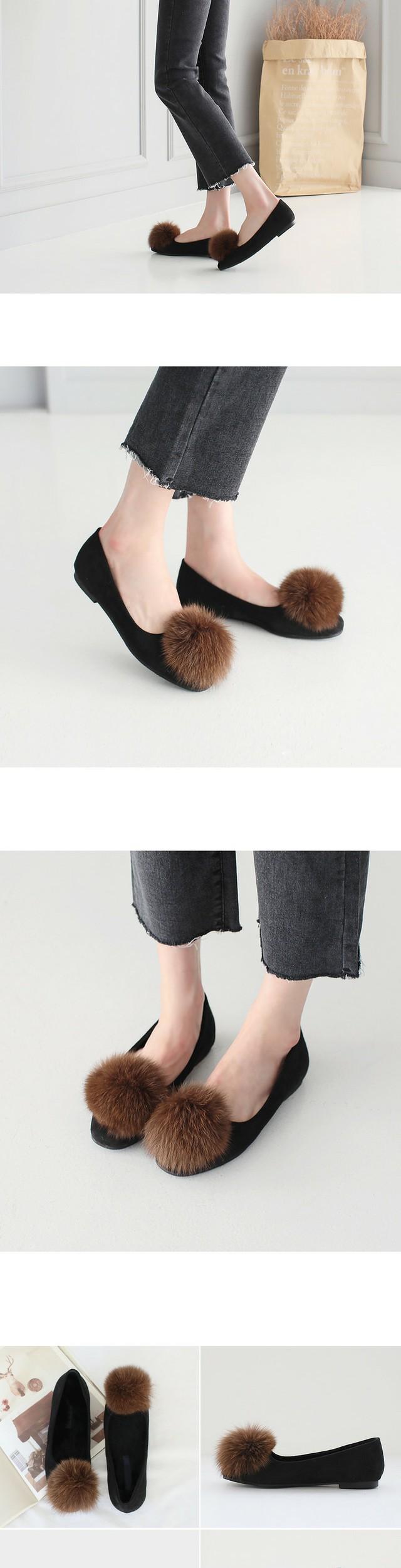 Harry Real Fur Flat Shoes 1cm