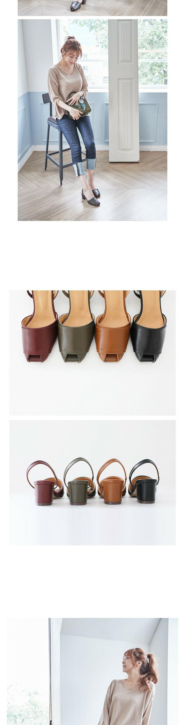 로스텔 토오픈 슬링백 미들힐 6cm