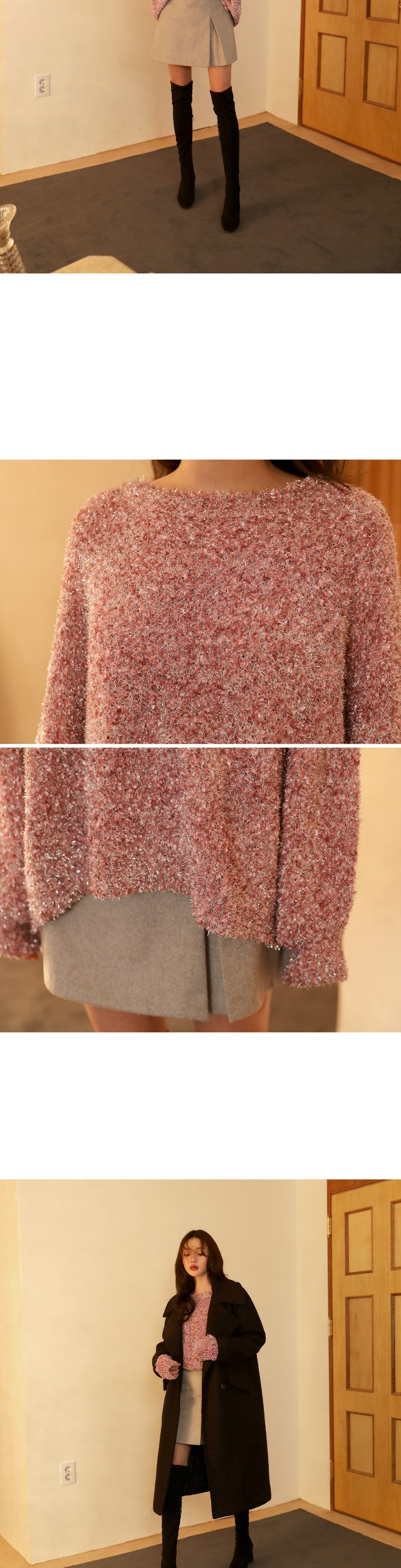 [TOP] TWINKLE PEARL OVER FIT KNIT