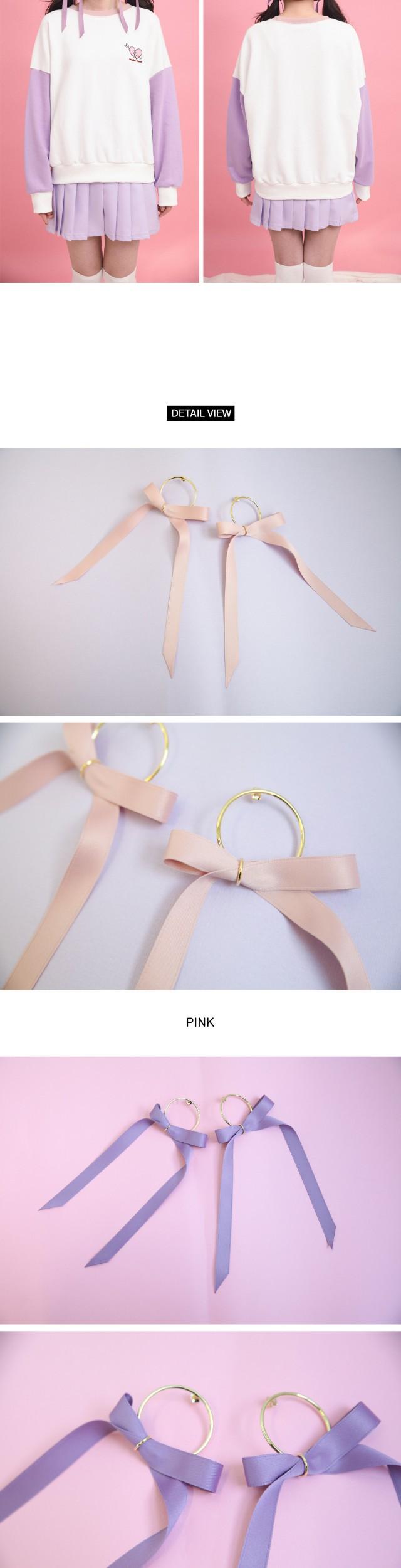 Long ribbon ring earrings