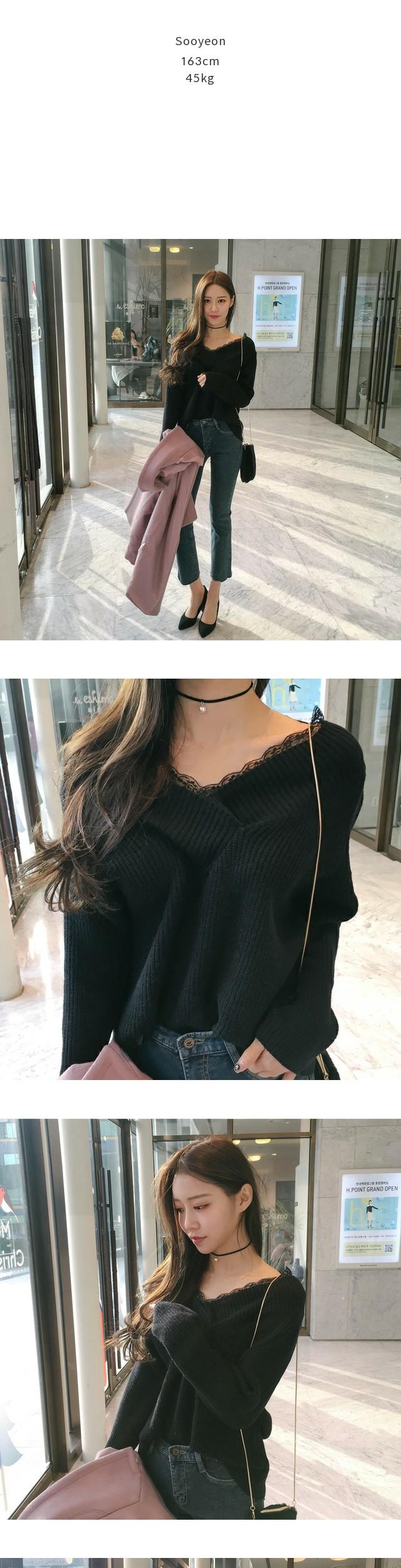 Lace v-knit