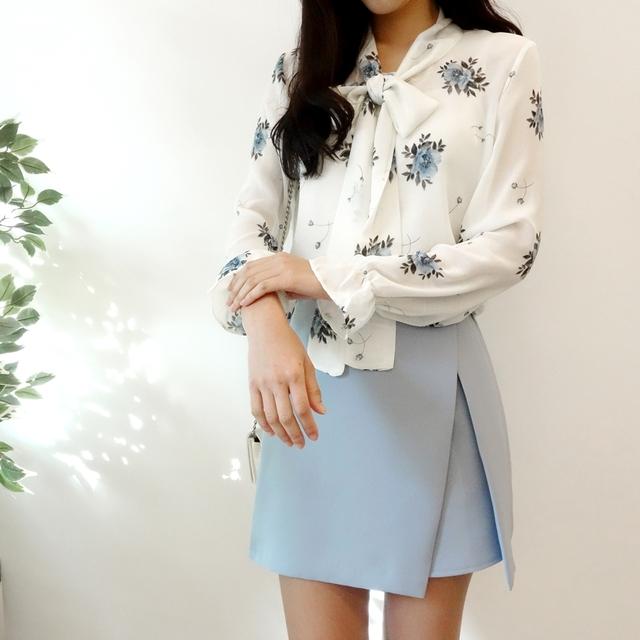 Cotton ribbon blouse