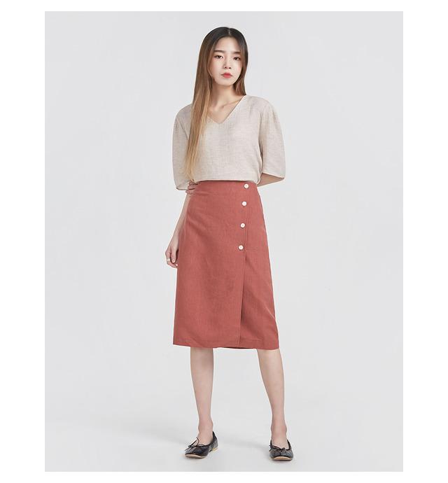 buttun open linen midi skirts (2 colors)