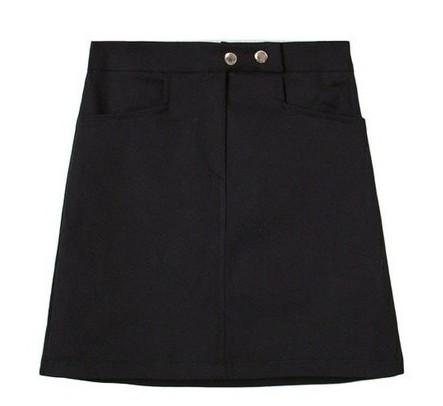 Cotton button bending H line mini skirt