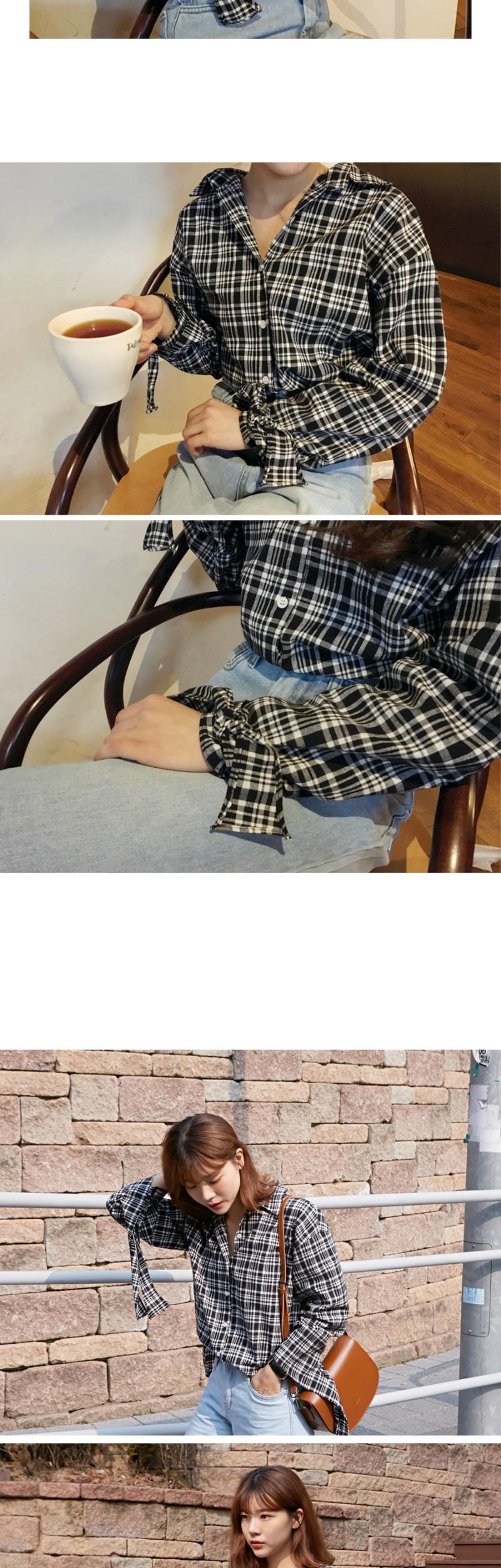 Bean check cuffs shirts_H (size : free)