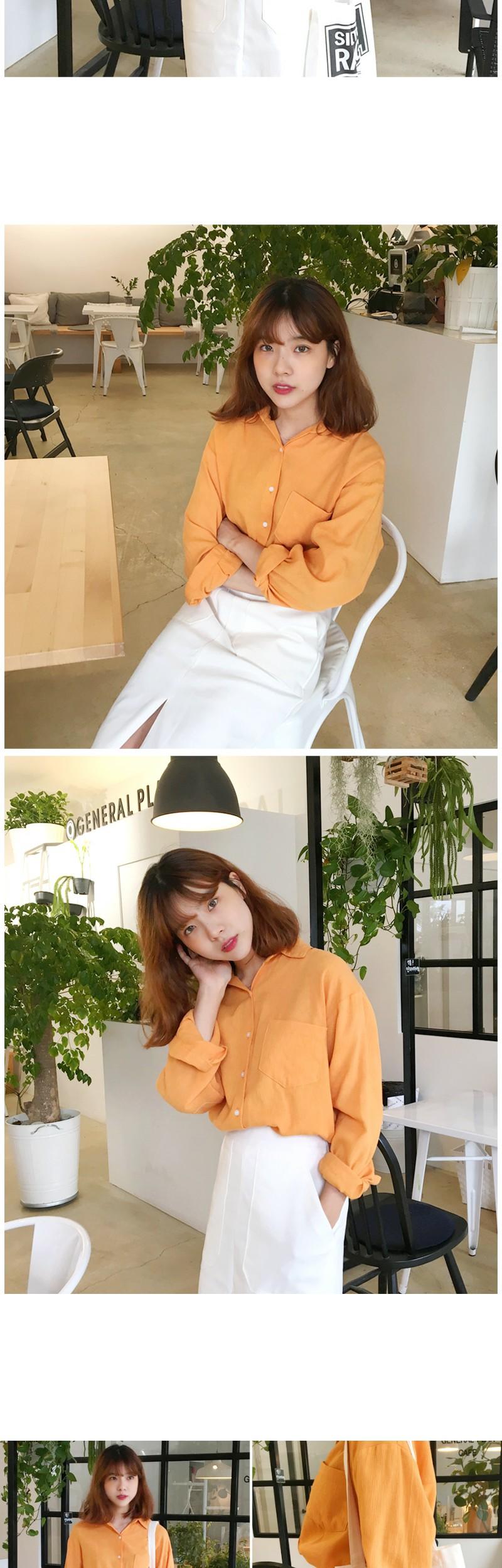 Mandarin cotton pocket shirts_H (size : free)