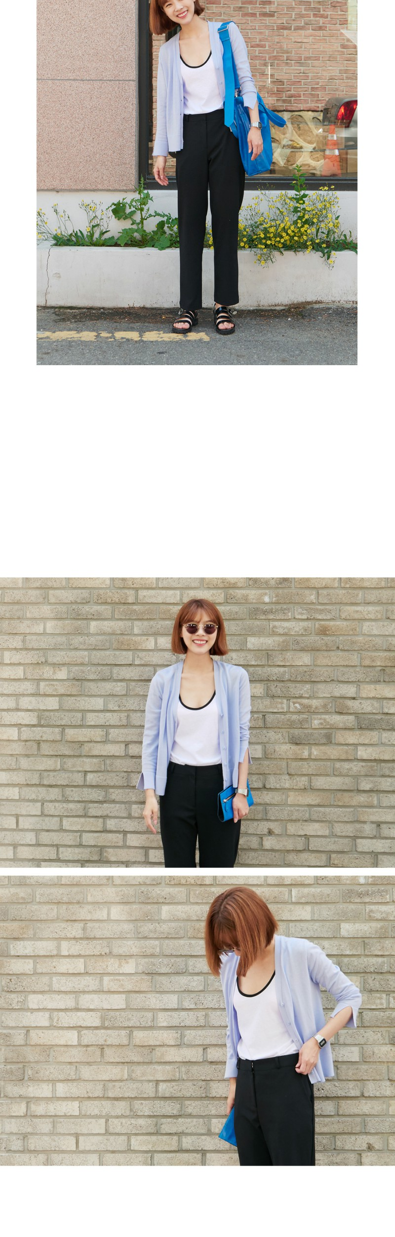 Slit sleeve button cardigan_Y (size : free)