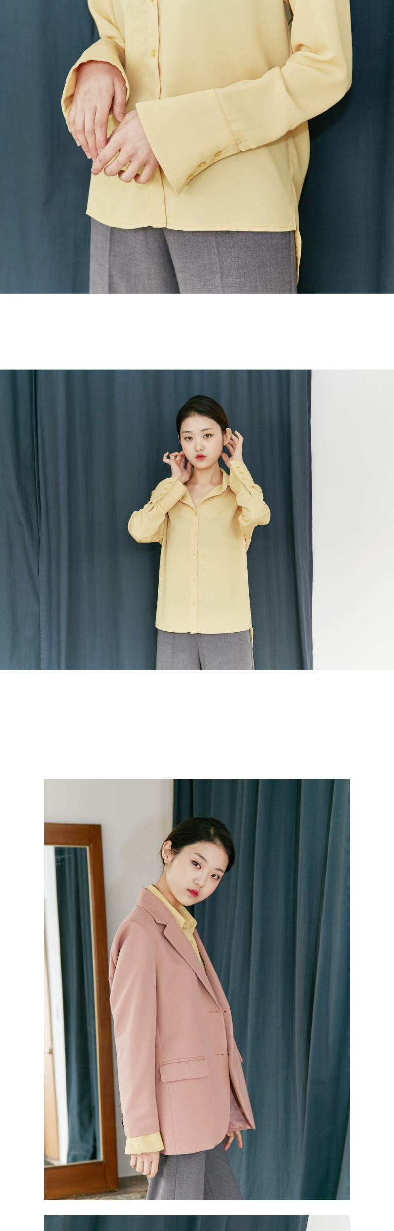 Powder cuffs sheer blouse_M (size : free)