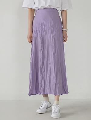 girlish crease long skirt