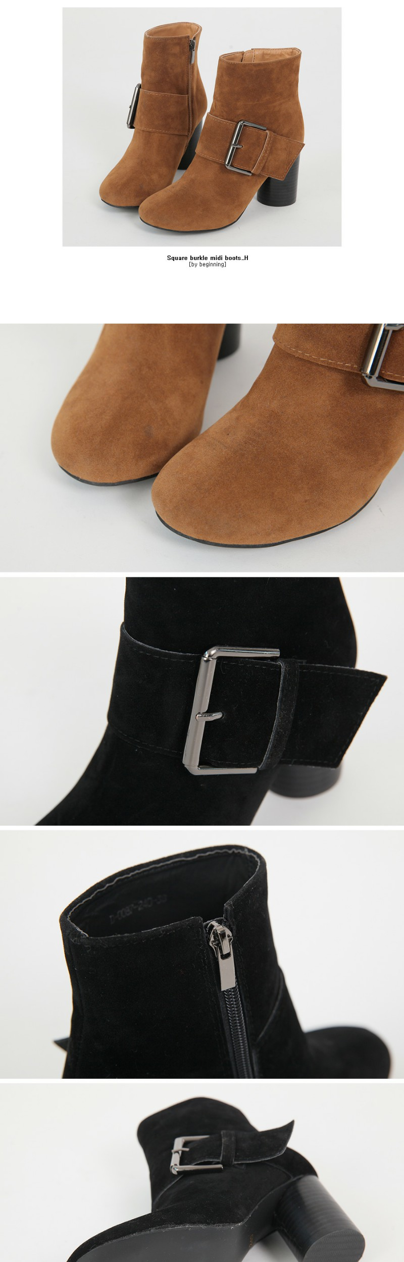 Square burkle midi boots_H(퀄리티감이 느껴지는 스웨이드 질감에 빅 버클 포인트만으로 세련된 멋스러움을 드리는 앵클부티)