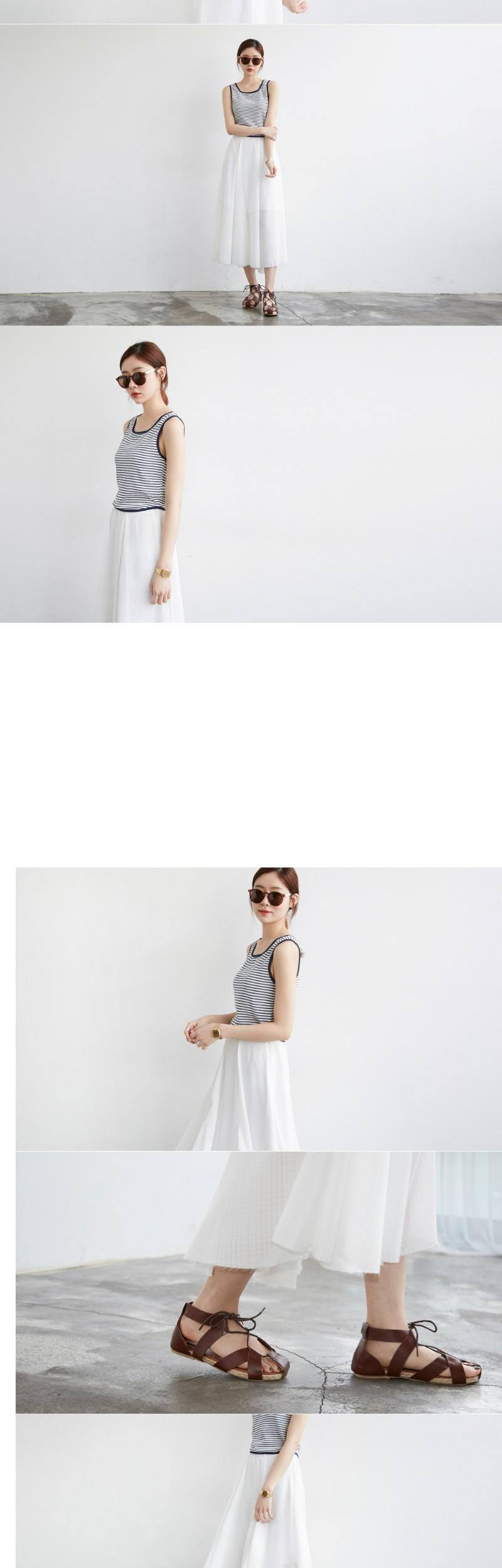 Made_bottom-039_Grid chiffon long skirt