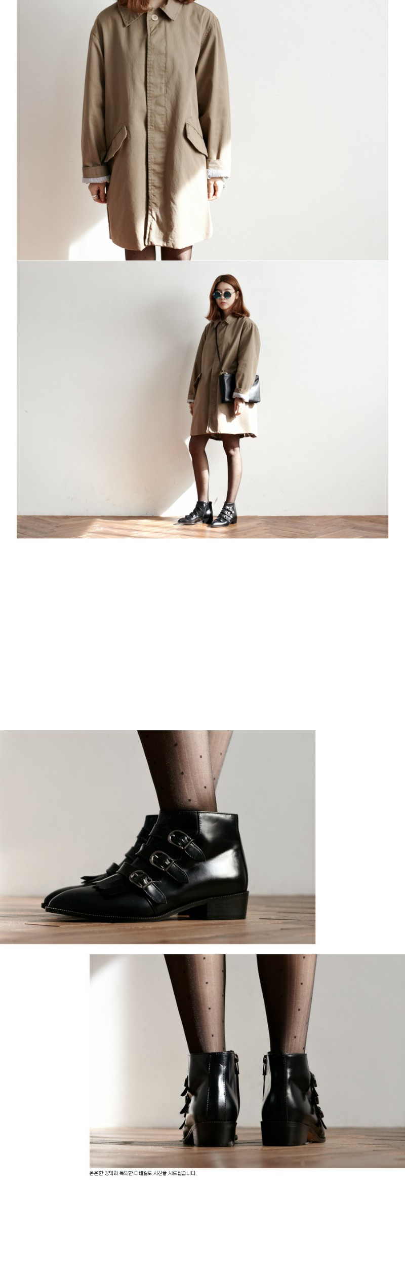 Buckle handmade ankle boots