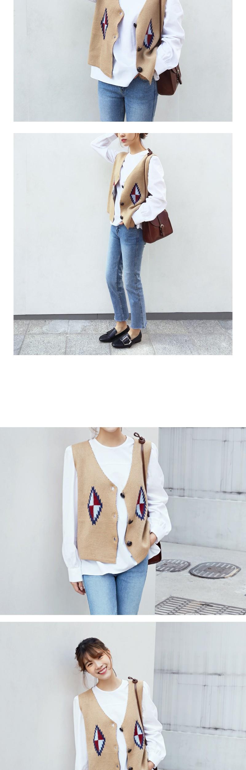 Ohkoos vintage knit vest_M (size : free)