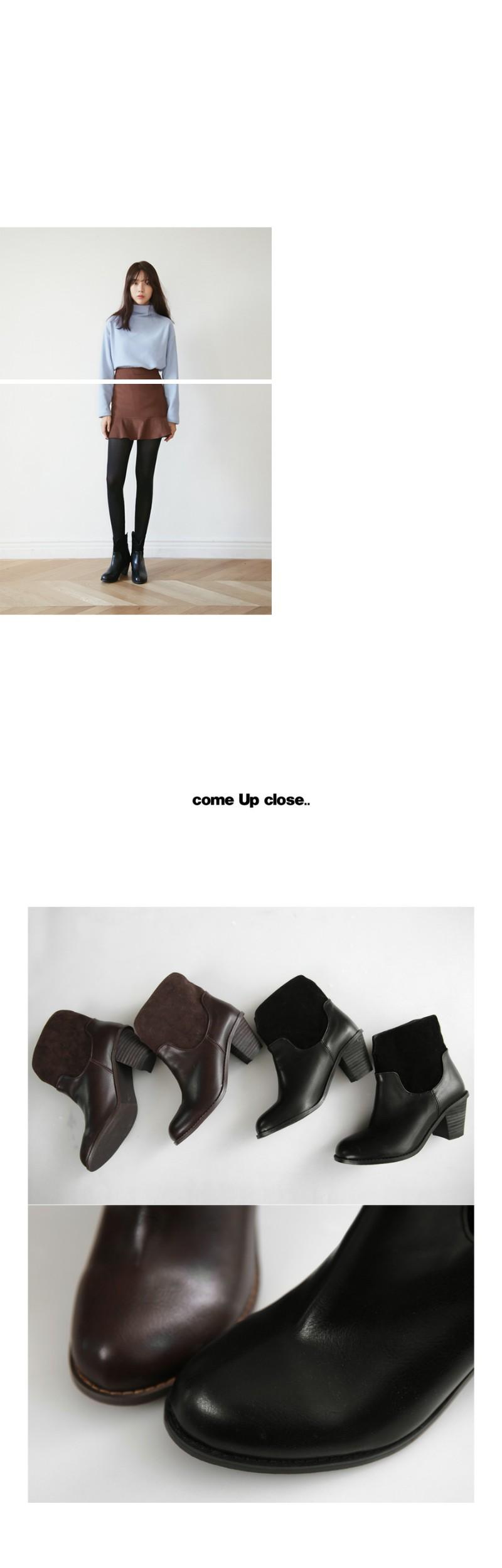 Suede patch line ankle boots_SJSJ