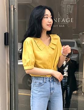 Sweet pleats collar blouse_S (size : free)