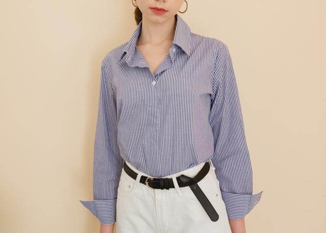 Half Button-up Striped Shirt