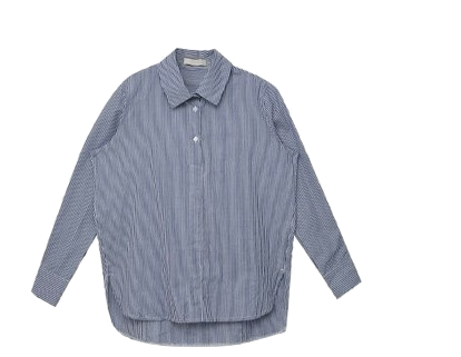 Half Button-up Striped Shirt