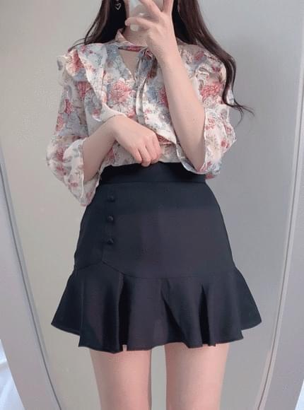 Spring scent ribbon flower ♥ blouse