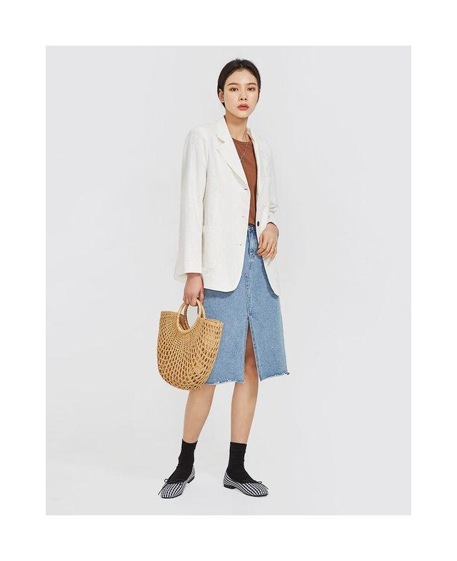 eight denim midi skirt (s, m, l)