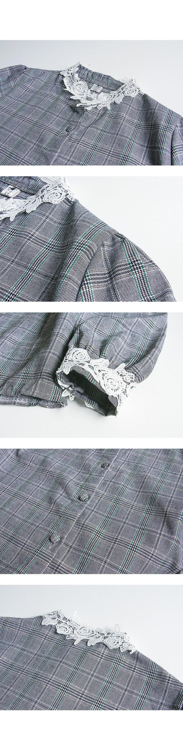 Antique Lace Collar Check Blouse