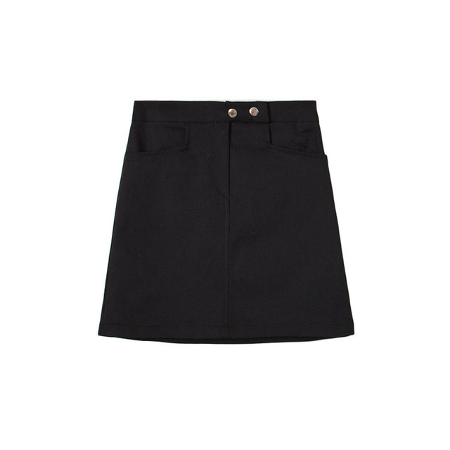 Cotton button bending H line mini skirt