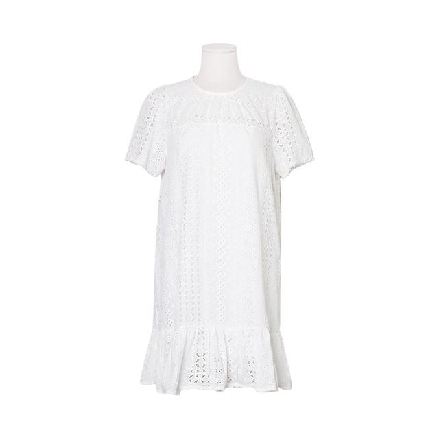 Whip Lace Eyelet Punching Ruffle Dress