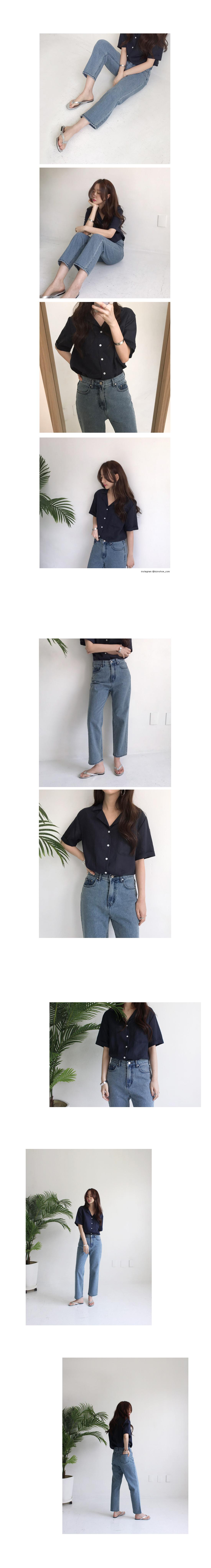 Linen collar shirt (6color)